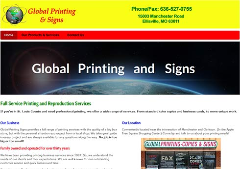 Global Printing and Signs screen shot